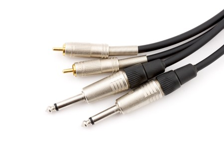 Audio cables isolated on white Stock Photo - 4148519