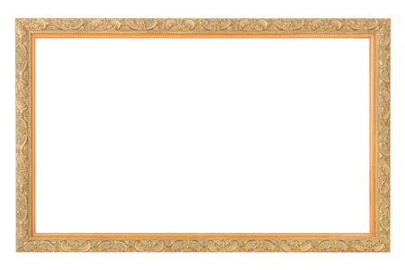 gold antique frame isolated on white Stock Photo