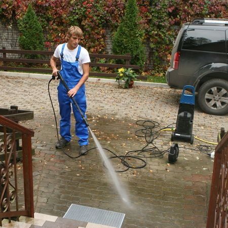yard work: professional cleaning Stock Photo