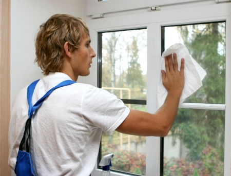 cleaning window: professional cleaning Stock Photo