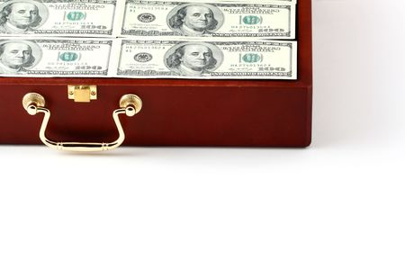 corporate greed: case with money on white