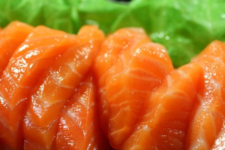 salmon sashimi closeup photo