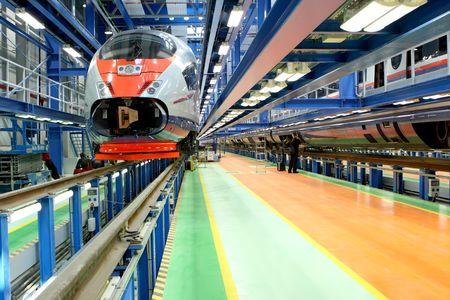 modern train: fast train in the service depot