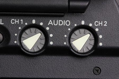 audio knobs closeup photo