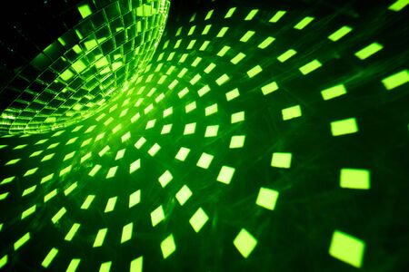 miror: Disco ball with green illumination Stock Photo