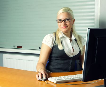 businesswoman at her working place photo