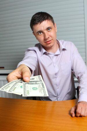 man offering money photo