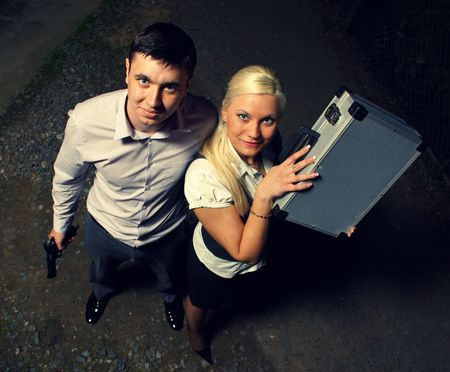 snatched: couple of gangsters snatched a large sum Stock Photo