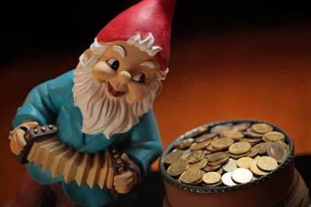 pot of golden coins and gnome photo