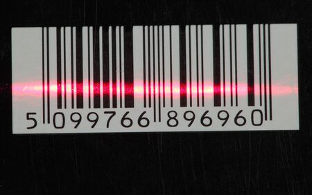 barcode with red laser strip photo