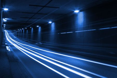 timelapse: blue lights inside the tunnel, time-lapse