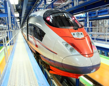 subway train: high-speed train in the service depot Editorial