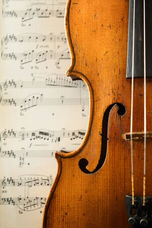 of mozart: part of an antique violin