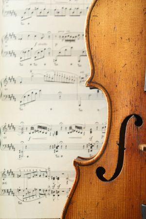 mozart: part of an antique violin