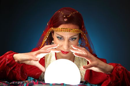 fortune-teller with a shining crystal ball photo