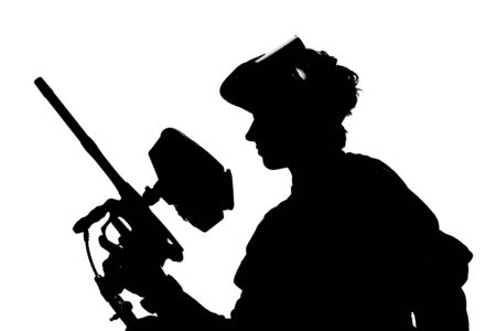 shooter: silhouette of a paintball shooter isolated on white