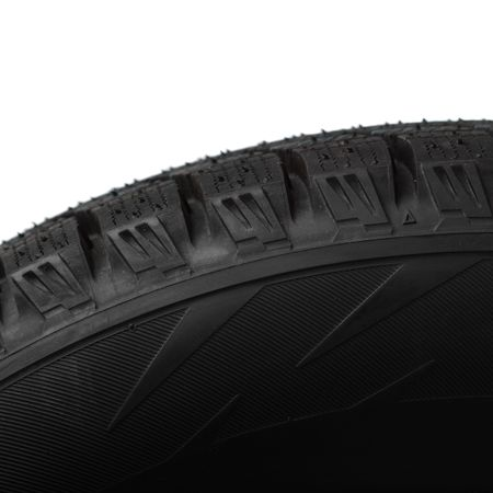 vulcanization: part of winter tyres isolated on white Stock Photo