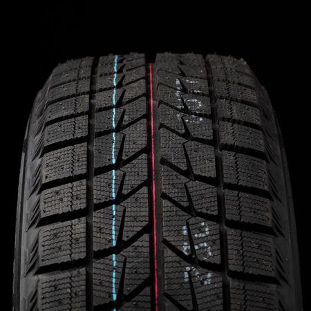 vulcanization: part of winter tyres on black
