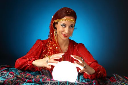 foretell: fortune-teller with a shining crystal ball
