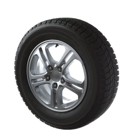 vulcanization: winter tyres on cast wheel isolated on white Stock Photo