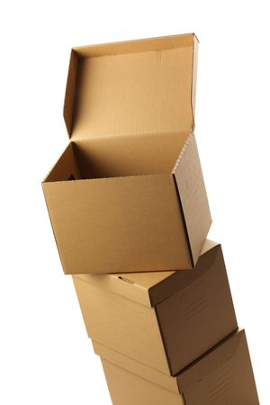 consignee: stack of opened cardboard boxes, isolated Stock Photo