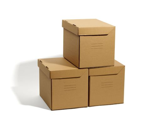 addressee: cardboard boxes isolated, real shadow, clipping path