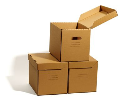 consignee: cardboard boxes isolated, real shadow, clipping path