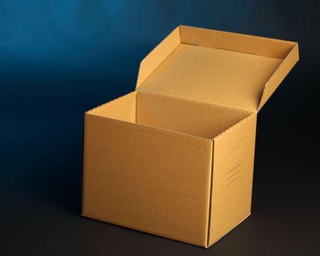 consignee: cardboard box on blue