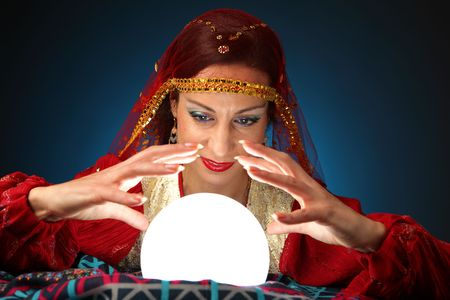 fortuneteller: fortune-teller with a shining crystal ball