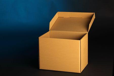 addressee: cardboard box on blue