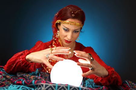 teller: fortune-teller with a shining crystal ball