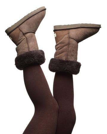 winter boots in the air, isolated photo