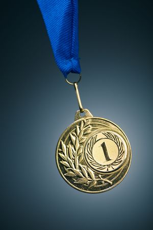 best place: gold medal on blue