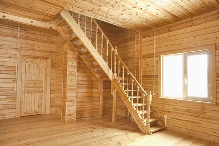wooden house interior photo