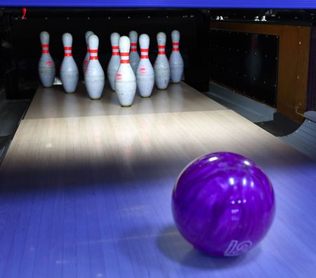 lane: bowling ball and pins