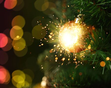 christmas ornament with fireworks photo