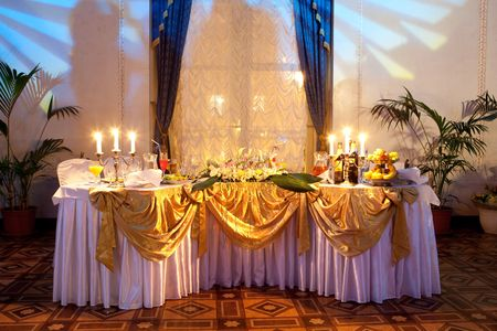 table set for a wedding dinner  Stock Photo