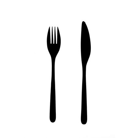 knife and fork: fork and knife silhouette Stock Photo