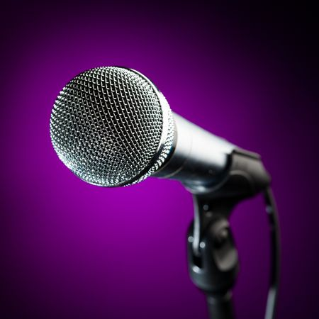 purple metal: microphone against the purple background