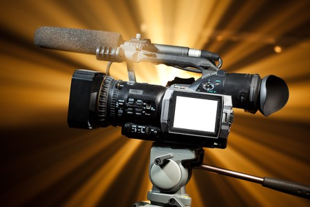 professional video camera with copy-space Imagens