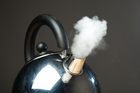 boiling pot: boiling kettle with dense steam Stock Photo