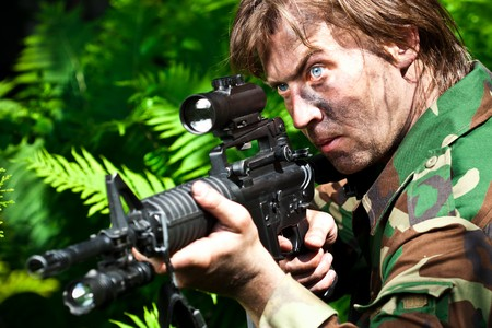 soldier aiming the rifle Stock Photo - 7217347