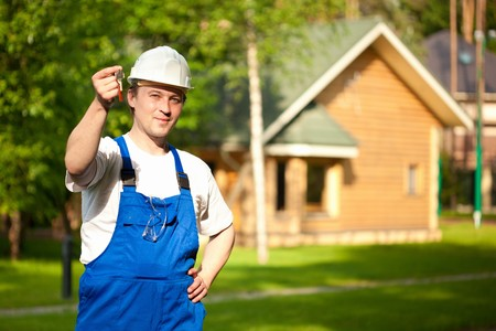 builder manager delivering the house Stock Photo - 7217504