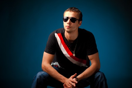 cool guy wearing sunglasses photo