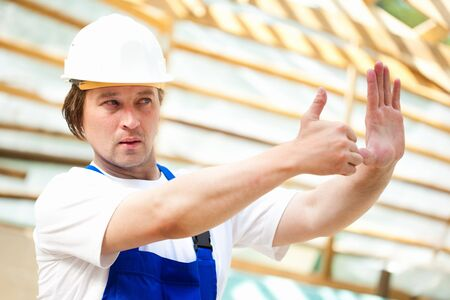 superintendent: builder looking at the construction project Stock Photo