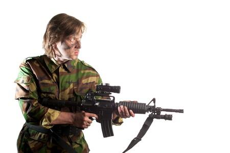infantryman: soldier holding a gun