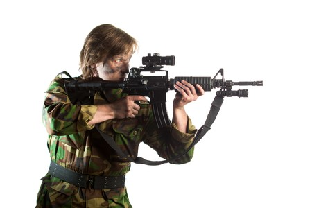 riffle: soldier aiming a riffle