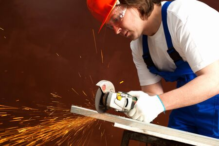 worker cutting metal Stock Photo - 7454746
