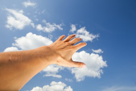 hand touch the sky photo