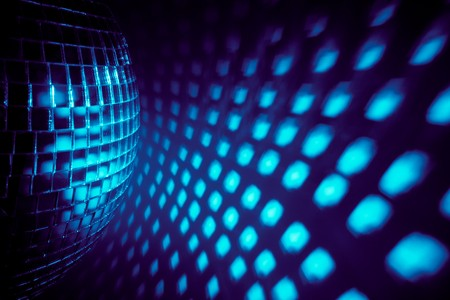 new ball: blue disco background